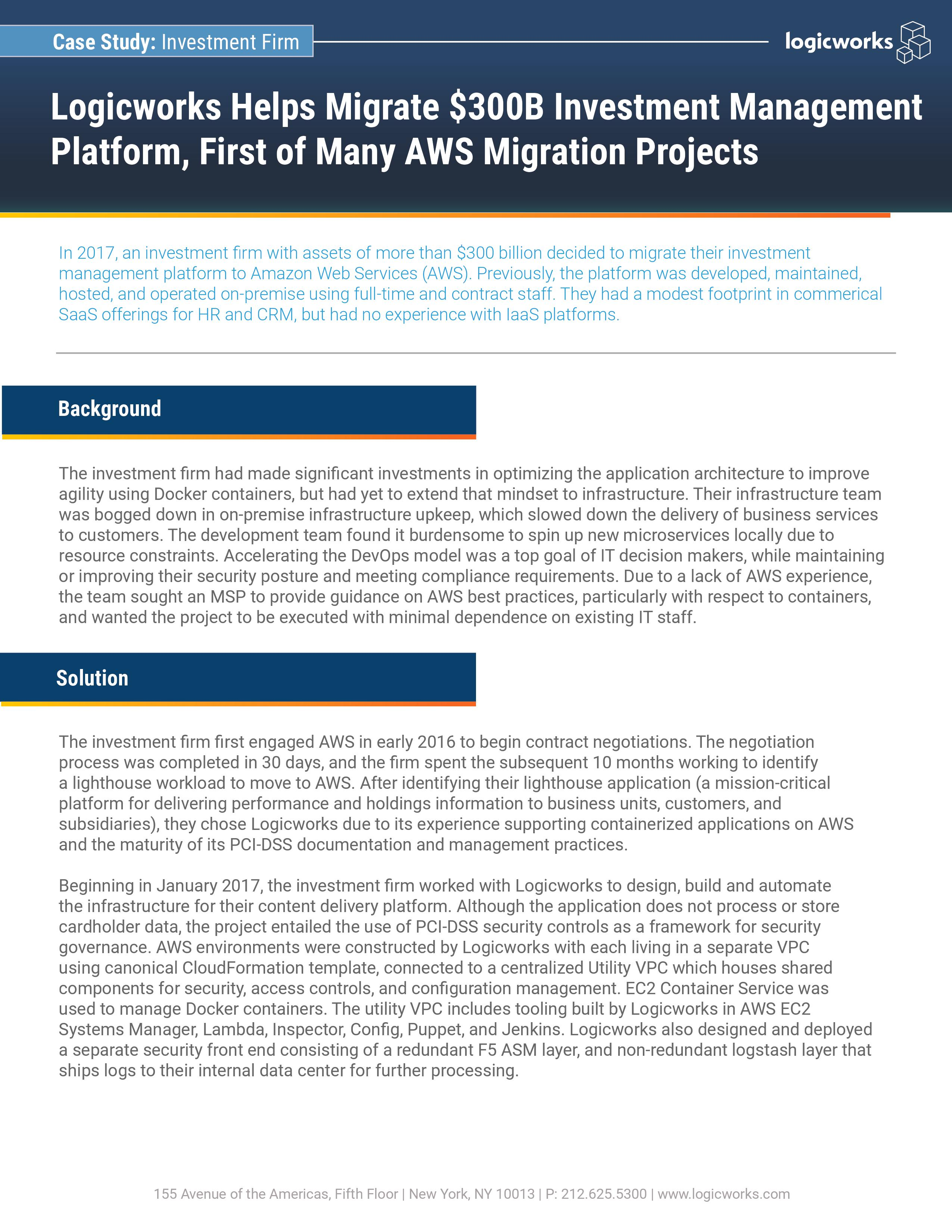 $300B Investment Firm Migrate On-Premise Platform to AWS
